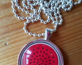Watermelon Necklace. Fruit Necklace. Red Green.