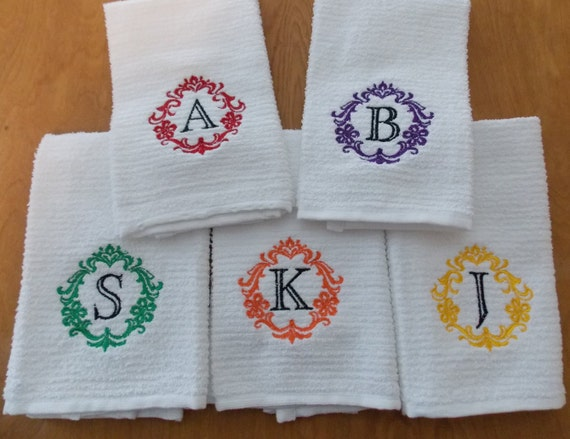 Monogram kitchen towel personalized damask