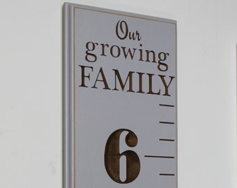 Fully Carved Wooden Growth Chart for Children - Our Growing Family