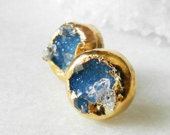 SALE Druzy stud earrings - Druzy earrings - Stud earrings - Turquoise druzy -Gold-dipped - drusy agate - Herkimer diamond
