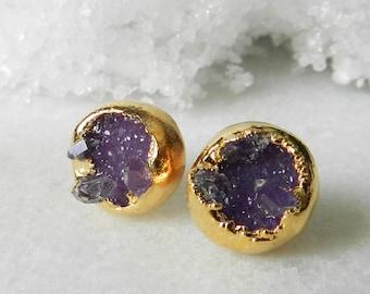 Druzy stud earrings - Druzy earrings - Stud earrings - Purple druzy -Gold-dipped - drusy agate - Herkimer diamond