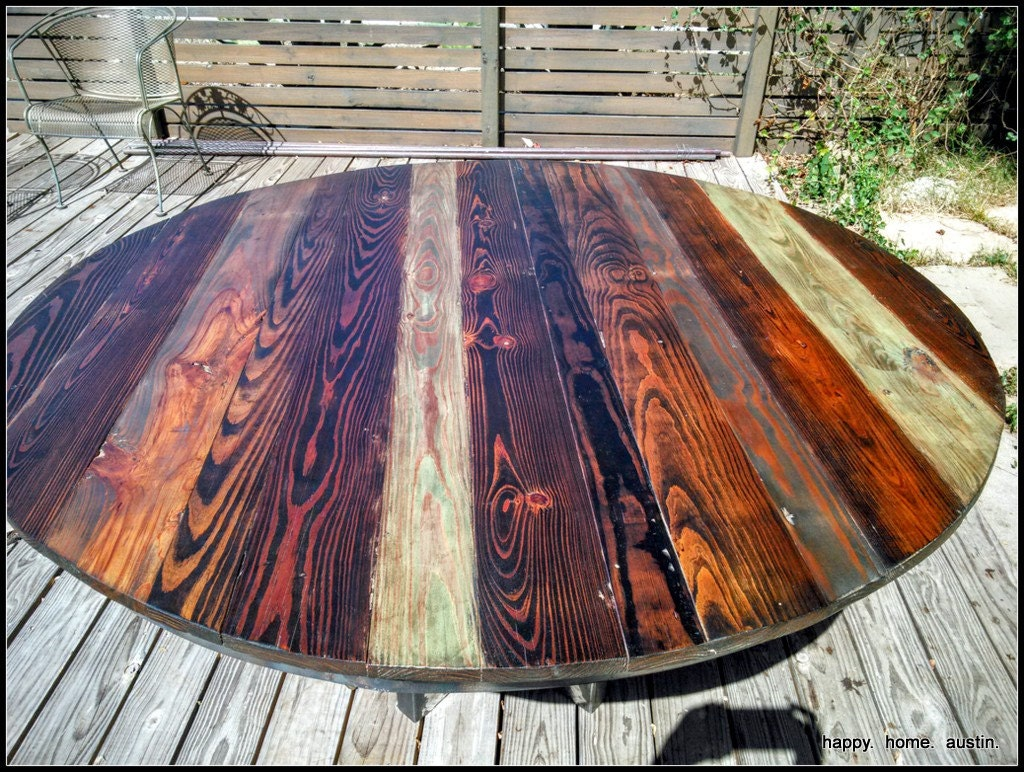 Round Reclaimed Salvaged Wood Dining Table with Metal Legs