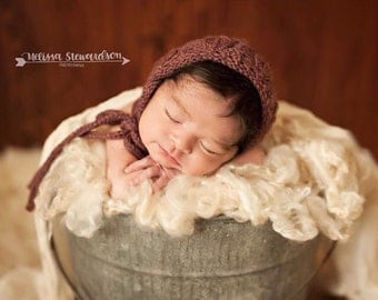 Lacey Leaf Hand Knit Baby Bonnet in 32 Different Colors///You Choose Size & Color///MADE TO ORDER