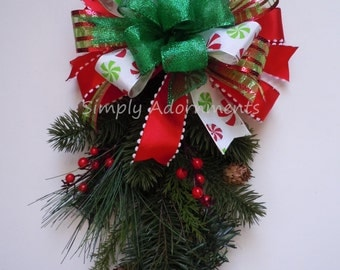 Whimsical Red Green Christmas Bow Funky Christmas Bow Peppermint Christmas Lantern Bow Red Green Christmas Elf Wreath Bow Gift Bow Door bow