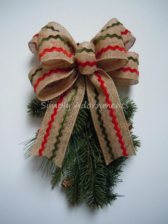 Red Green zig-zag Christmas Burlap Bow Red Green Burlap Christmas Wreath Bow Burlap Christmas Lantern Bow Zig zag Burlap Gift Bow