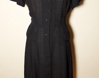 1950s Black Rayon Dress