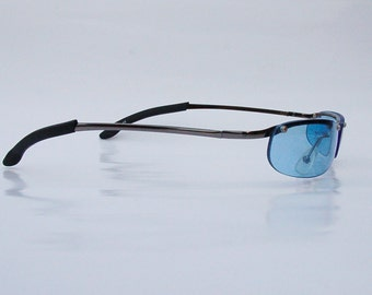Authentic Vintage 2000s Blue Lens Sunglasses/ Squared Shades w Silver Tone Frame - NOS Dead Stock Steampunk /Grunge/Rave