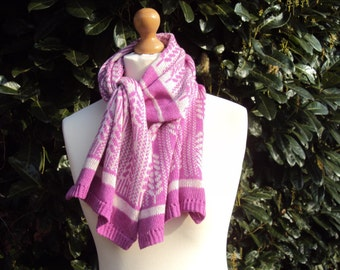 Cashmere Scarf - Pure Cashmere Shawl - Pink Cashmere Scarf - Fair Isle Cashmere Scarf - Pure Cashmere Wrap - Mothers day Gift