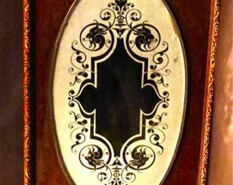 Victorian Glass Door Devilish Gargoyle Mirror From 1800s Framed In Fine Wood Panel