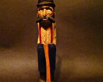 Authentic Handcarved Folk Art Logger Character With Ax