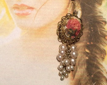 Bridal Rose Earrings Vintage 1940's Pearl Grapes West Germany Dangle