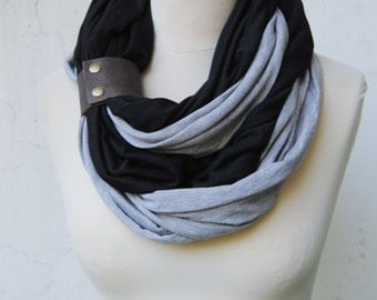 Infinity Scarf with a leather cuff, black and heather grey infinity scarf,  Scarf with a cuff, Double infinity Scarf, jersey scarf