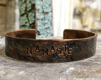 Custom Hand Stamped Copper Cuff - Vintage Inspired Patina - Personalized - Namaste - Mantra Cuff - Mantra Bracelet - Made in the USA