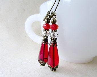 Red Teardrop Earrings. Handmade Ruby Red Victorian Earrings. Game of Thrones Inspired Jewellery. Long Drop Earrings with Czech Glass Beads.