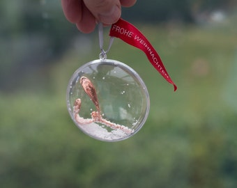 BAUBLE WITH MISTLETOE   Copper electroformed real twig