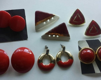 Valentines Day Earring Lot / Red Gold earring lot Lucite Enamel Pierced Earring Lot Instant Collection Costume Jewelry