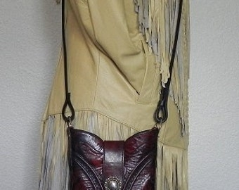Black Cherry Leather Lucchese Cowboy Boot Top Clutch Handbag