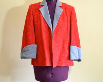 1950s Vintage Malden Red and Grey Boucle Jacket size M bust 38