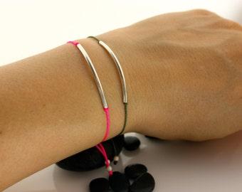 Everyday friendship bracelet/Tube Bracelet/Bar Bracelet/Sterling Silver bracelet/Adjustable/Thread bracelet/Perfect bracelet/Gift for her