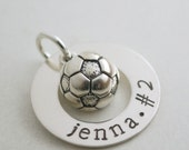 Soccer Charm with Custom Name - Senior Night Girls Soccer - Personalized Gift for Athlete - Silver Soccer Ball Charm - Soccer Coach Gift