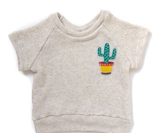 Cactus Patch Short Sleeved Raglan Sweatshirt. www.brownsugarbeach.com