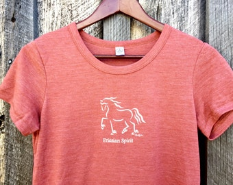 "Horse Tee Shirt, ""Friesian Spirit"", Equine Design by Sandra Beaulieu, Horse Gift, Friesian Horse, #FriesianFriday, Horse Holiday Gift"