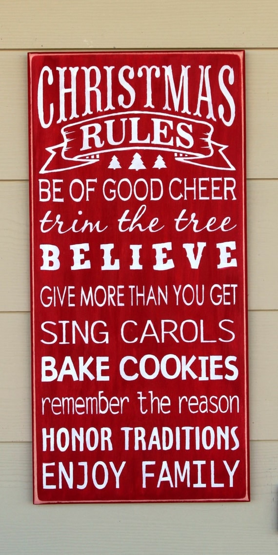 Christmas Rules - WOODEN CHRISTMAS Signs - Large - 24x12 - Hand painted sign - Family Rules - Wooden signs - Christmas sign - Holiday Decor