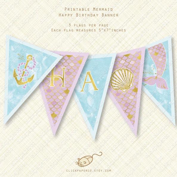 Purple Mermaid Banner Happy Birthday Printable By ClickPaperCo
