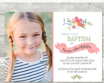 LDS Baptism Invitation: Floral, watercolor, 5x7 or 4x6