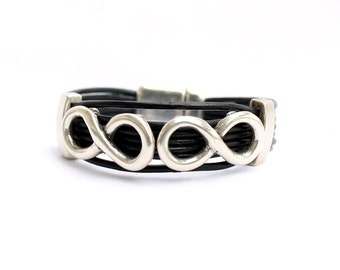 Double infinity bracelet for men, for women, leather and silver plated,