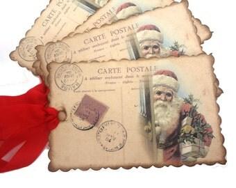 Christmas Tags, Santa Tags, French Christmas Tags, Saint Nicholas, Vintage Christmas Tags, Holiday Tags, Christmas Gift Tags, Set of 10