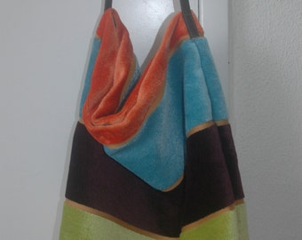 Striped brown green orange velvet bag