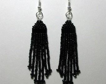 Beaded Earrings. Dangle Beaded Earrings. Gun Metal. Earrings. Beaded Fringe Earrings. Black Crystal Earrings. Native American Inspired.