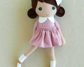 Fabric Doll Rag Doll Brown Haired Girl in Pink-Purple Dress