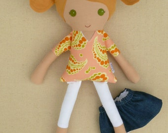 Fabric Doll Rag Doll Honey Blond Haired Girl in Peach Swirl Print Dress with Denim Skirt
