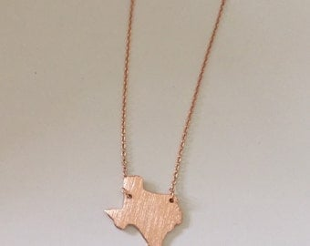 Gold, Rose Gold or Silver Plated Texas Necklace