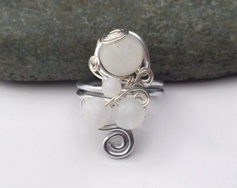 Moonshine / Sterling Silver Ring / Gem Stone Ring / Wire Wrapped Ring / Ethnic / Turkish Ring / Moonstone Ring / SR1B01
