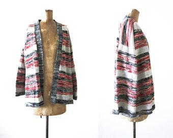 Robe Cardigan / 70s Cardigan / Striped Buttonless Cardigan / Marled Sweater