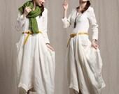 white linen dress / ruffle dress / long linen dress / maxi dress / linen kaftan dress / linen jumper / shift dress / winter dress / shirt