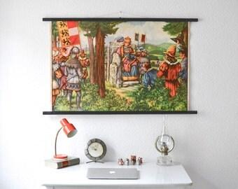 Vintage poster school print school pull down chart map fairy tale coronation king German print