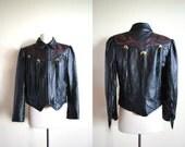 80s 90s Black Leather Fringe Moto Jacket, Concho Tassels, Red Rose Cut Out Suede, Southwestern Biker Jacket