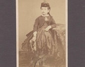 Early French CDV of a Beautifully Dressed Girl with a Jump Rope