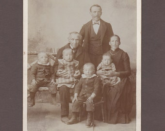 Swiss Cabinet Card of a Multi-Generational Family of Seven