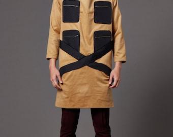 Wool longline turtle neck coat (Brown)