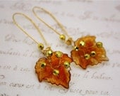 Autumn leaft earrings retro shabby chic leaf romance woodland vintage bronze jewellery accessory gold brown