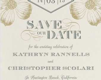 Etched Flowers Save The Date - Cottage Wedding  - Vintage Wedding  - Rustic Wedding
