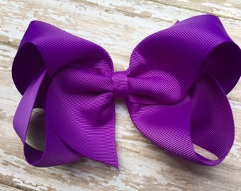 Extra large 6 inch purple hair bow - 6 inch hair bow, cheer bow, big bow, purple bow, large bows, girls hair bows, girls bows, toddler bows