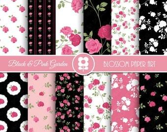 Black and Pink Digital Paper, Rose Digital Paper Pack, Pink Black Floral Scrapbooking, Floral Digital Paper, Vintage Roses - 1985