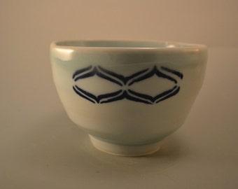 Square dance - small porcelain rice bowl- celadon with cobalt blue wave apttern