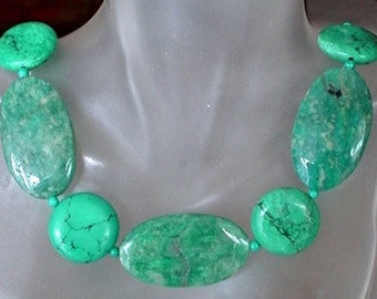 """Green Russian Amazonite c/w Turquoise Necklace - 20"""" lg (51cm) - Silver Coated Finish"""